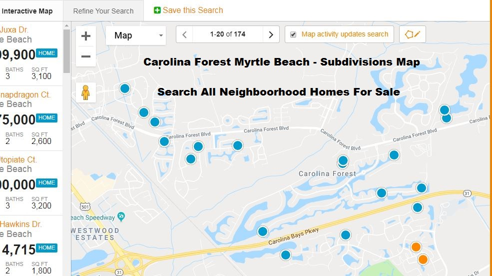 Carolina Forest Myrtle Beach Subdivisions Map