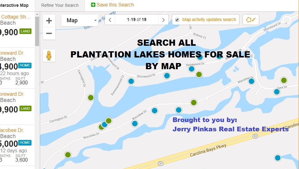 Plantation Lakes Myrtle Beach Homes For Sale By Map Search