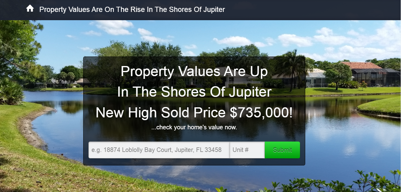 Shores Of Jupiter Home Value Thom and Rory Team