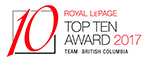 Royal LePage Top Ten Team Award BC 2017