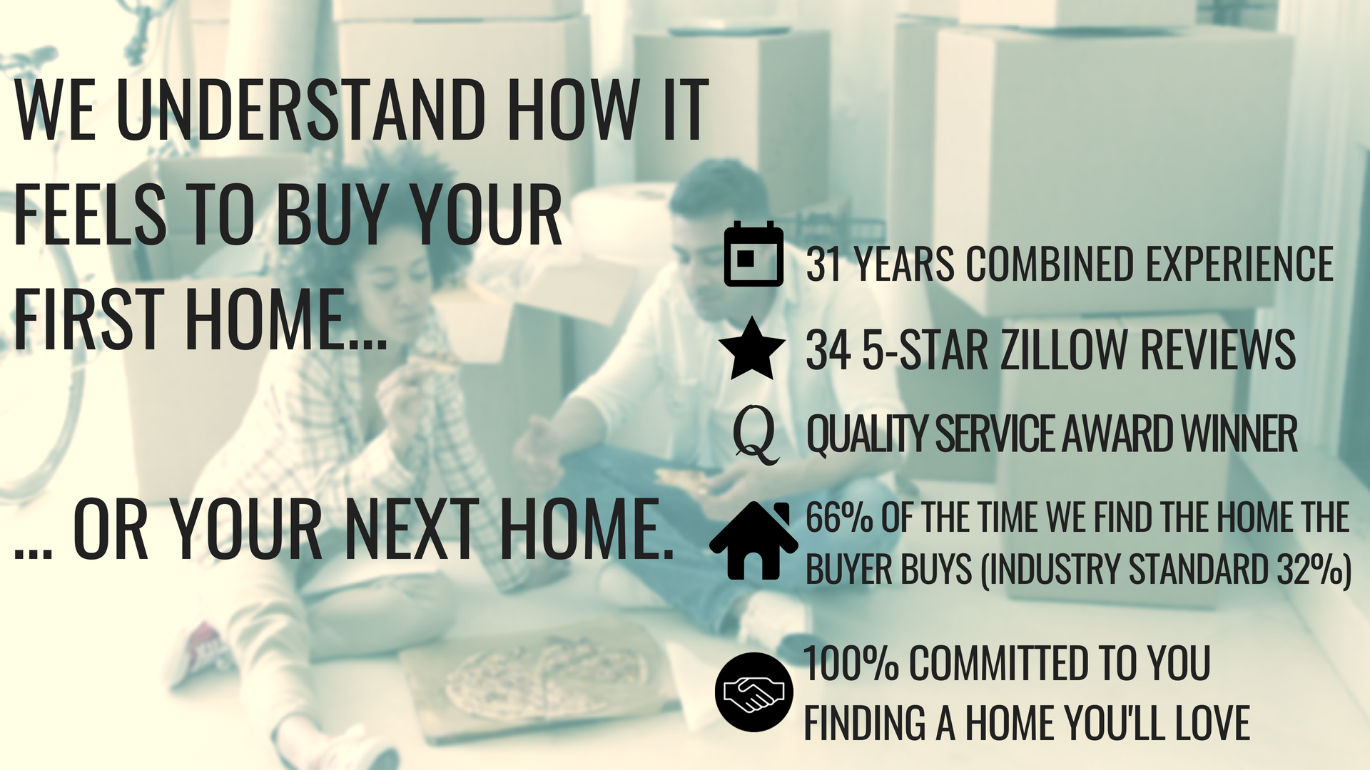 WE UNDERSTAND HOW IT FEELS TO BUY YOUR FIRST HOME...  ... OR YOUR NEXT HOME.