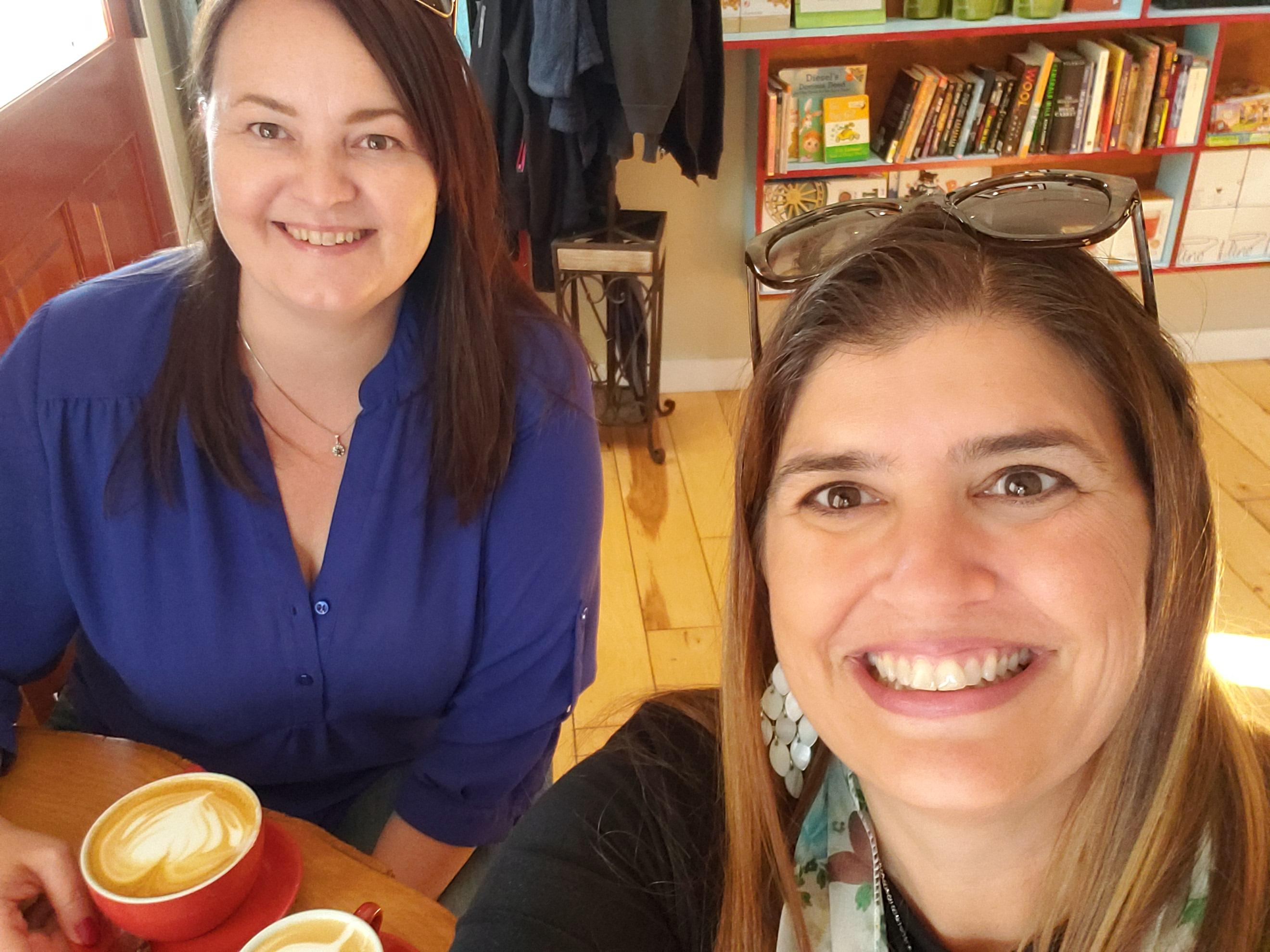 Realtor Kelsey Lane chats with Alice Riiski Kempton closet designer S'bastians coffee Redwood City, CA