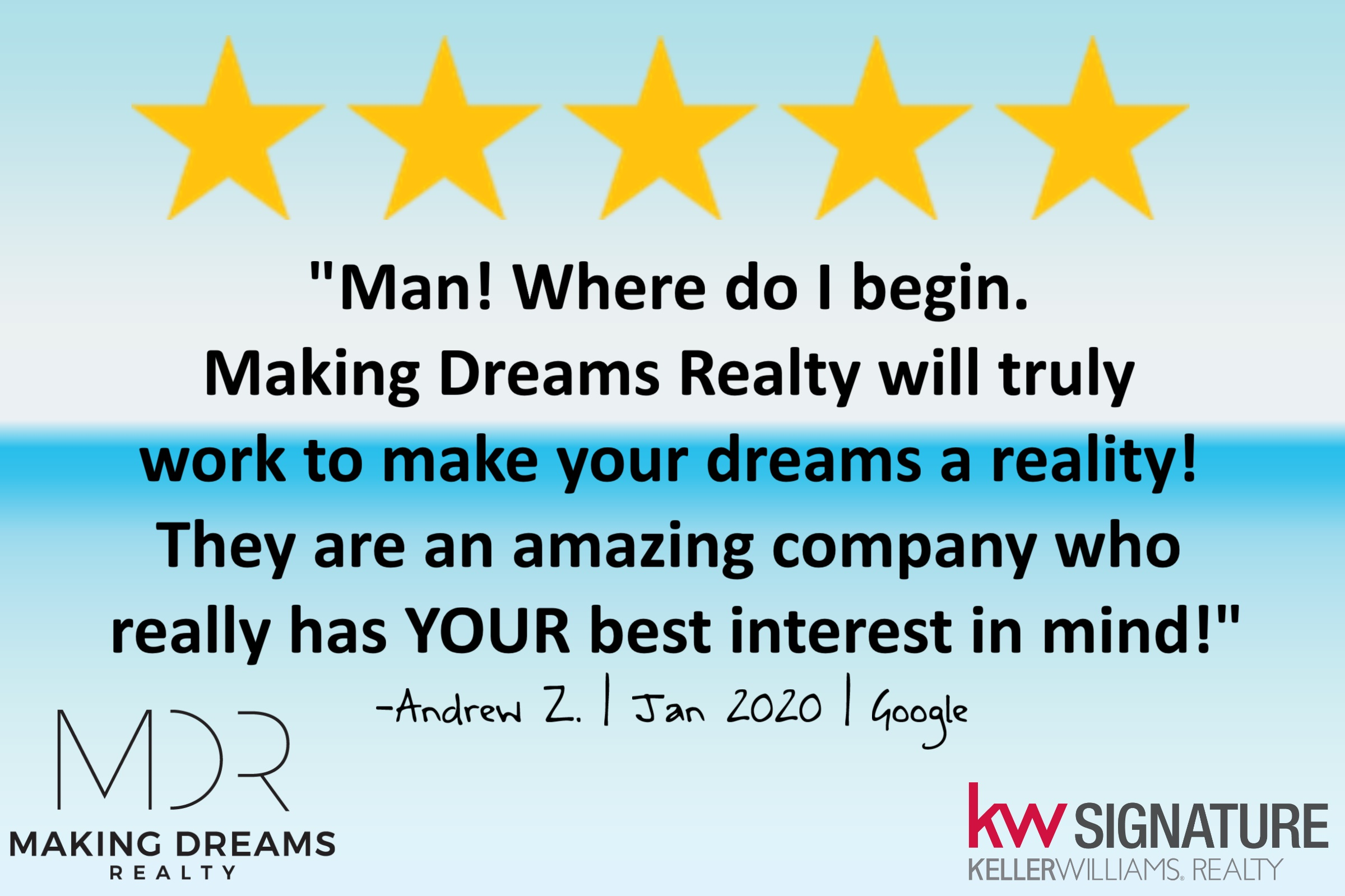 5 star review for the MAKING DREAMS Realty Team