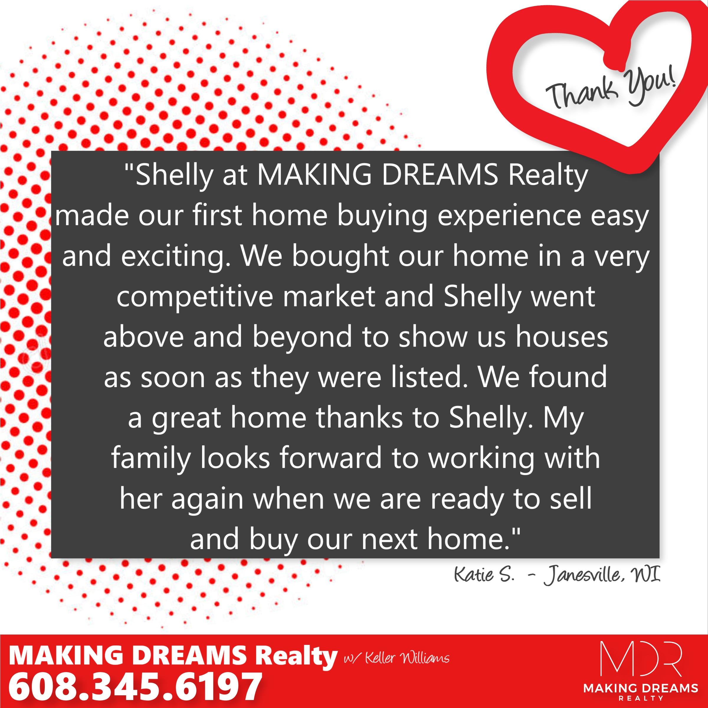 5 star buyer testimonial of MAKING DREAMS Realty