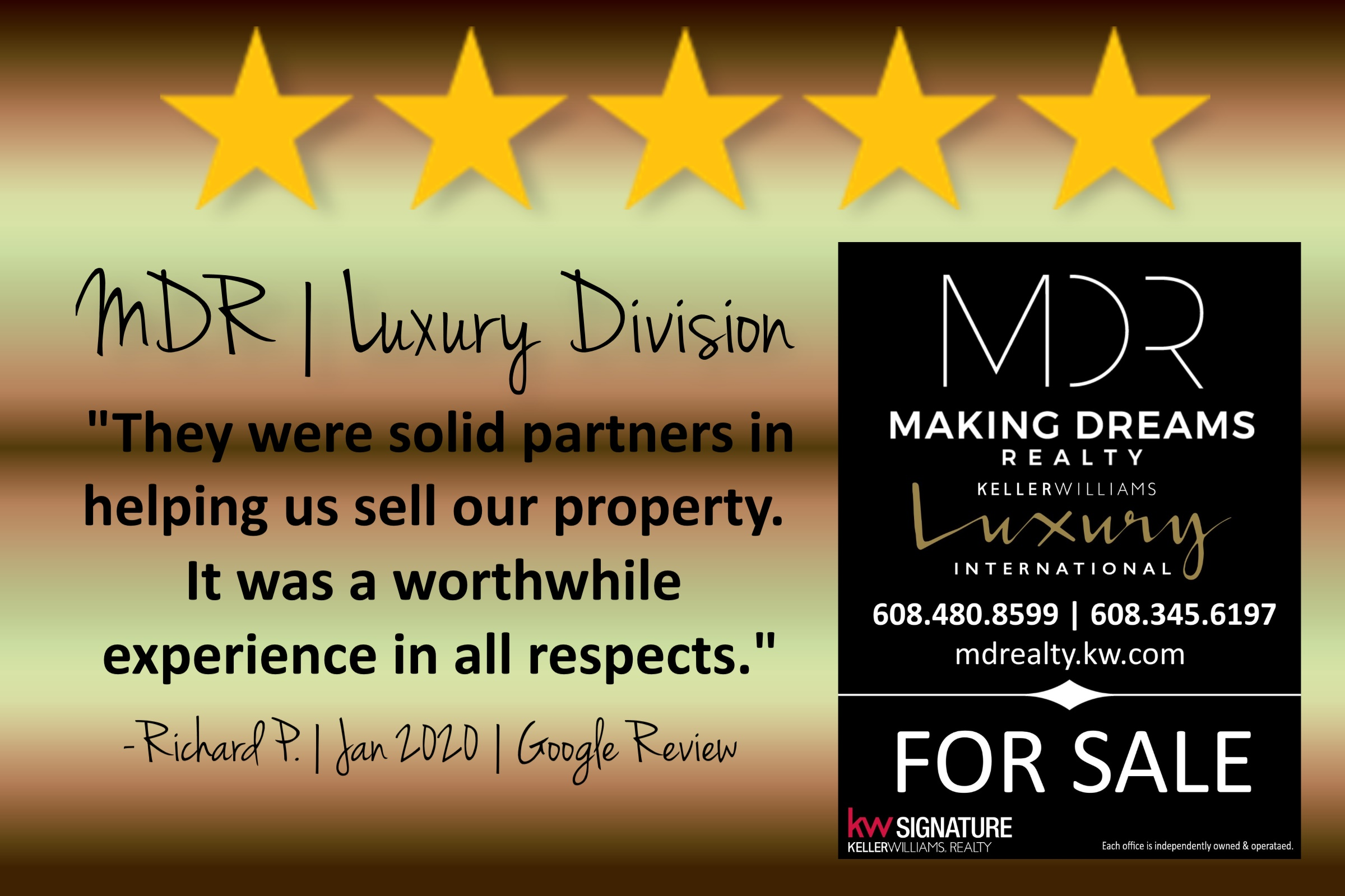 5 star review of MAKING DREAMS Realty luxury division