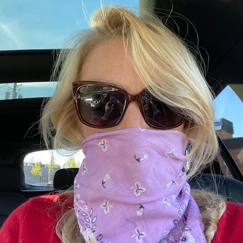 Kim in her mask