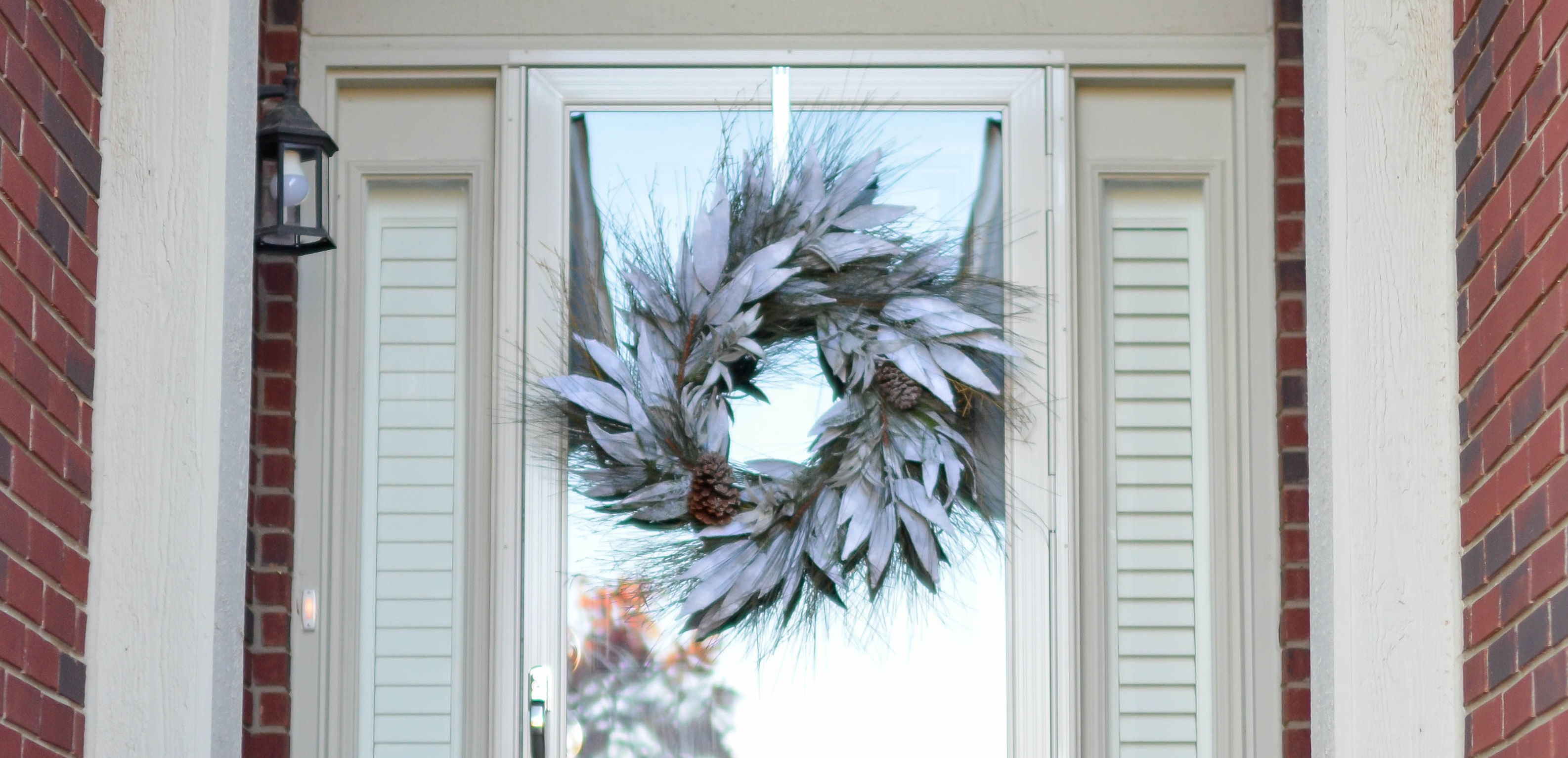 A front door decorated for the holidays