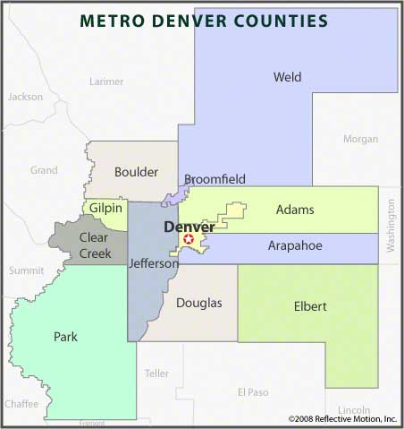 Counties of Metro Denver Map