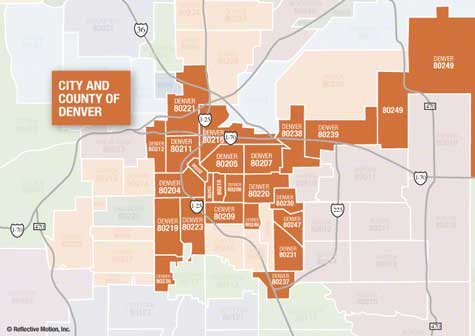 Denver city and county zip code map