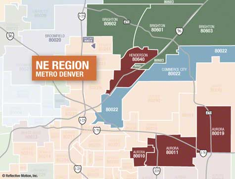 NE Metro Denver Zip Code Map