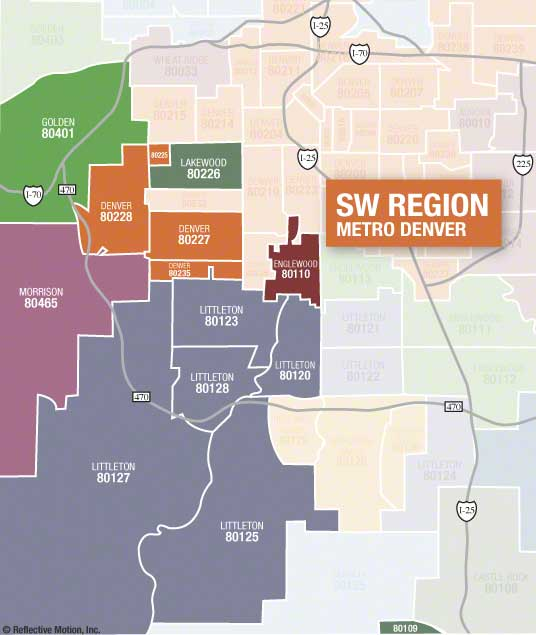 Denver SW Metro Zip Code map