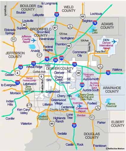 Map Of Denver Metro Area Denver Map