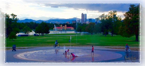 Denver's City Park Kids playing in the fountain