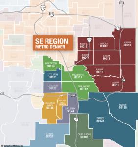 Denver SE Zip Code Map for home values - December 2011