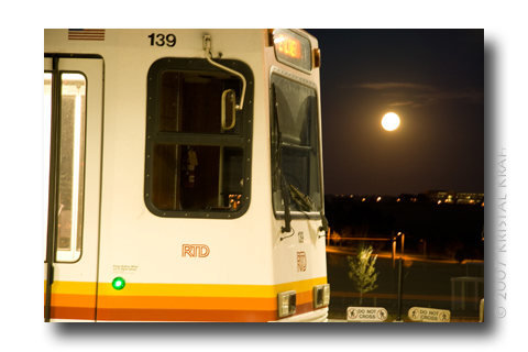 RTD Lightrail at full moon