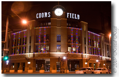 Coors Field holiday lights