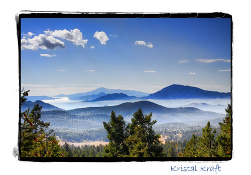 A view of Pikes Peak from Conifer, Colorado