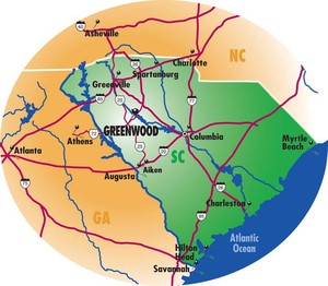 Map of Greenwood SC