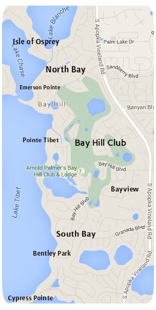 Bay Hill Area Neighborhood Map