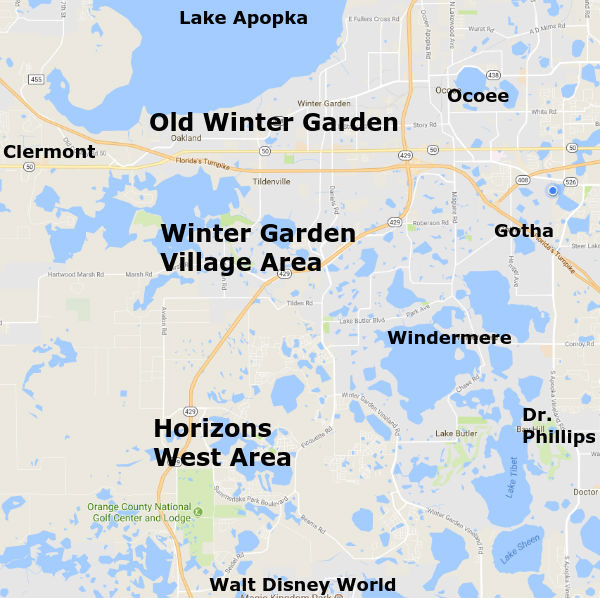 Winter Garden Florida Area Map