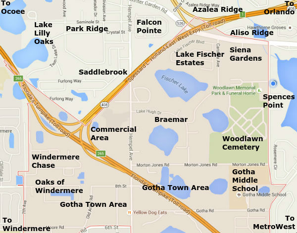 Gotha Florida Neighborhood Map