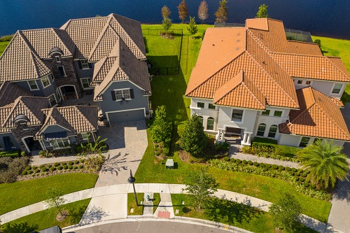 Aerial shot of two luxury homes