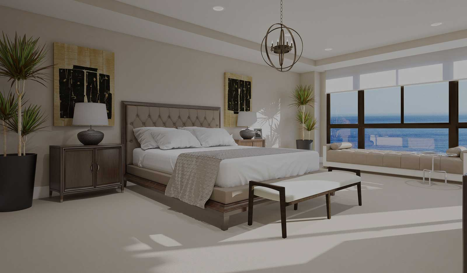 los angeles home - master bedroom with large windows