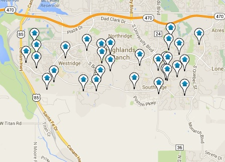 Highlands Ranch Homes for Sale Map Search Results