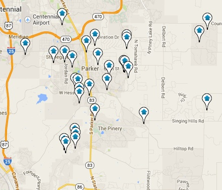 Parker Homes for Sale Map Search Results