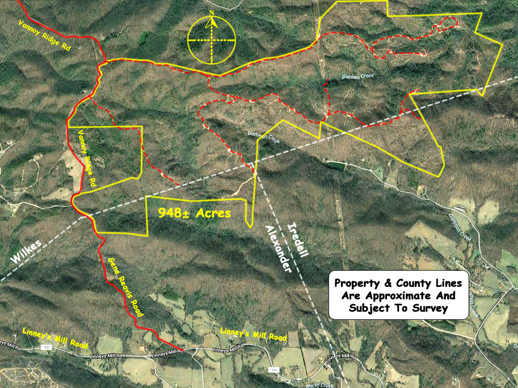 Large tract of land for sale in the Brushy Mountains 1065 acres