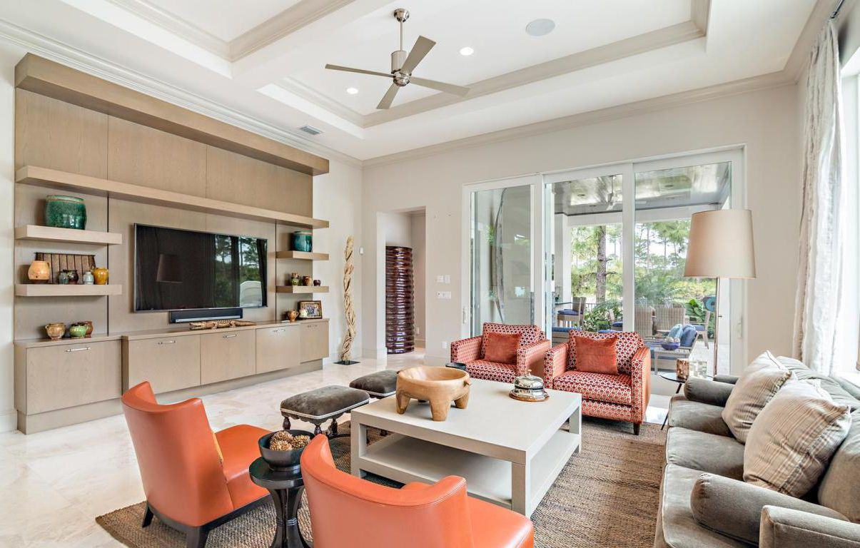 ... A Bright Orange   Seen Frequently Throughout This Palm Beach Gardens  Home. These Colors Are Most Likely To Be Seen On Walls Or Used As A Pop Of  Color.