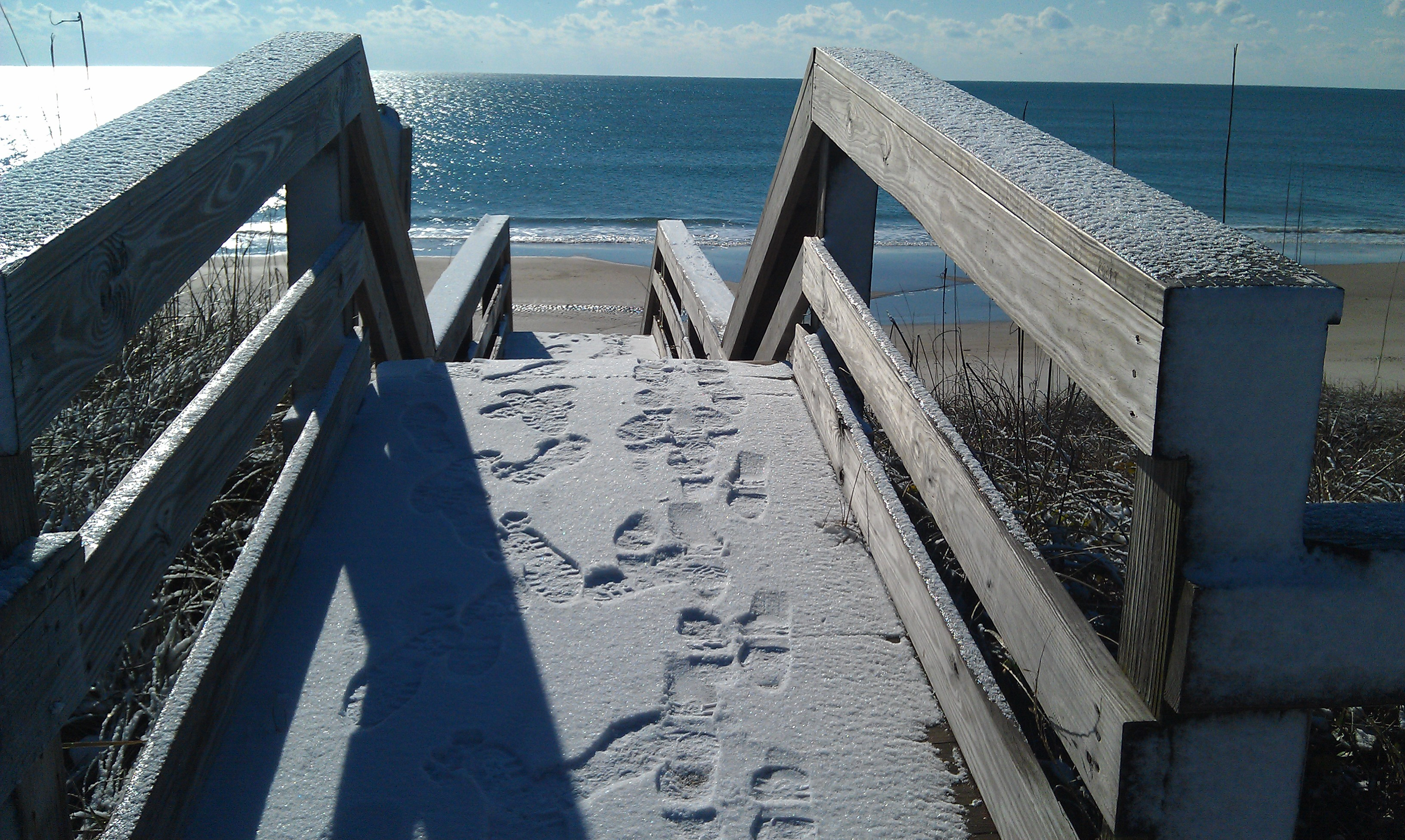 Cold Snow Covered Day at Beach Access topsail island