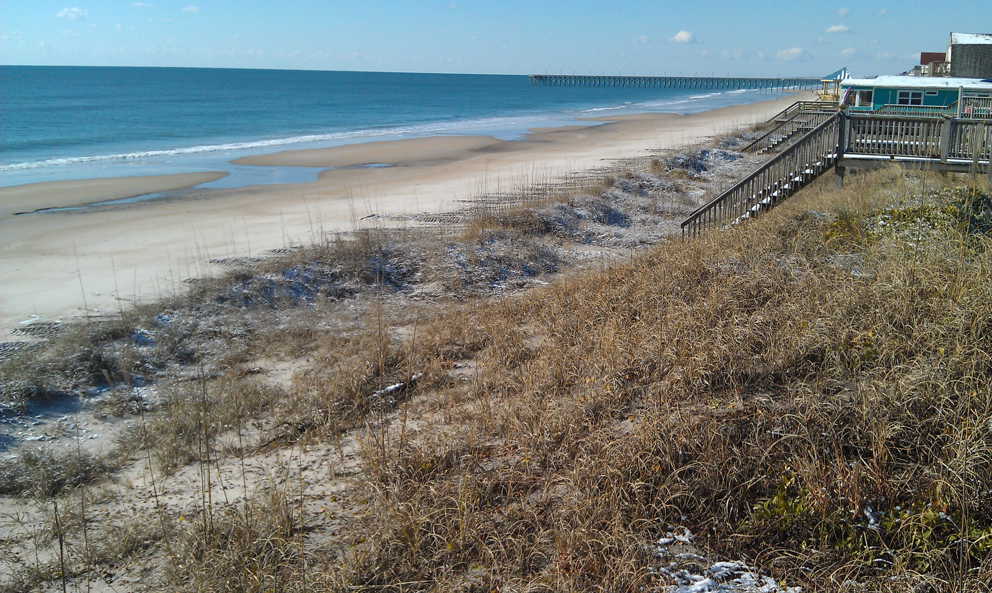 Dunes on Topsail Island With Snow Dusting