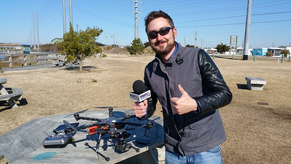 Chris Rackley, President of Lewis Realty with Drone - Topsail Island, NC
