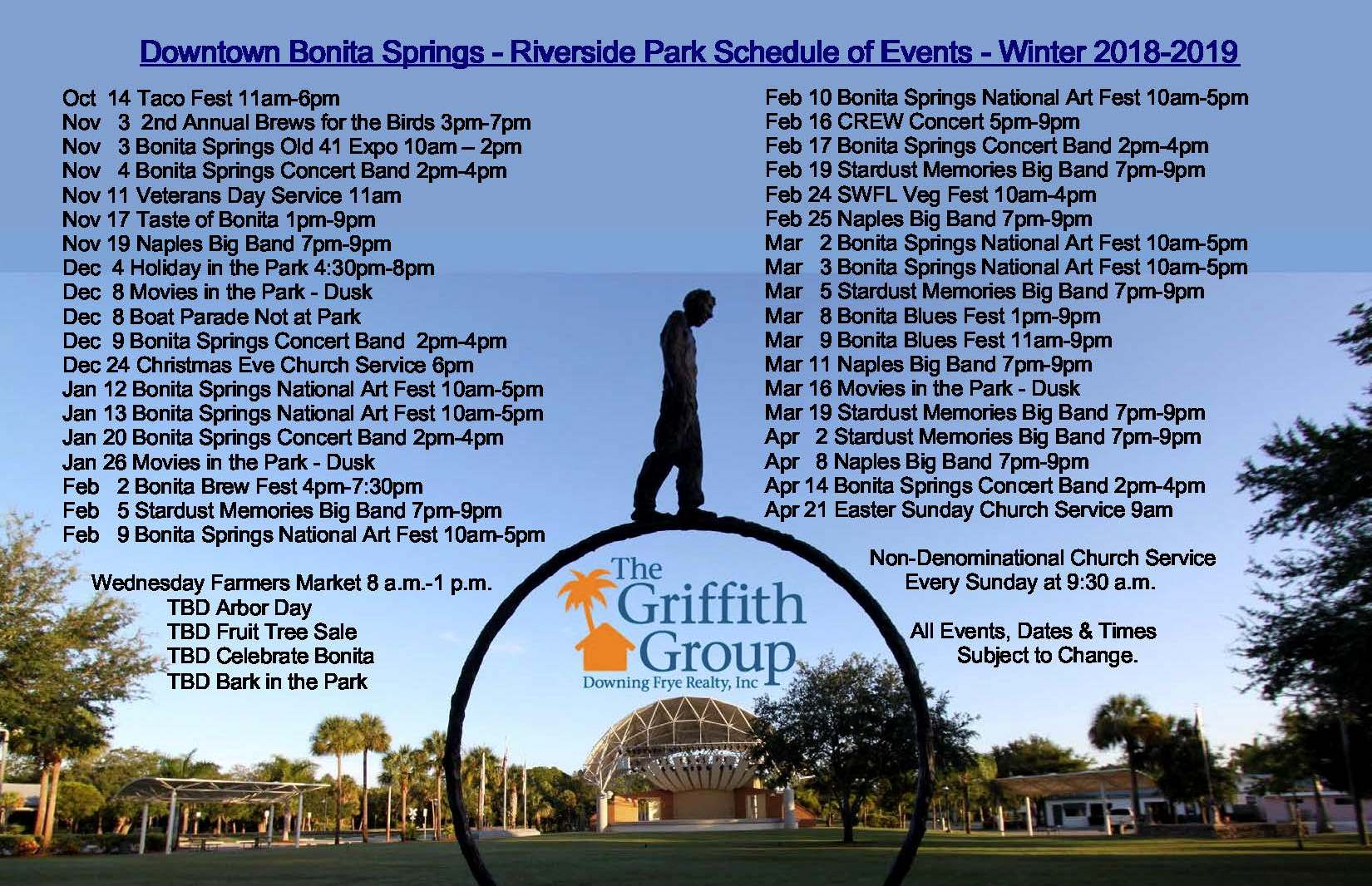 Florida Calendar Of Events 2019 Downtown Bonita Springs Florida Riverside Park Calendar of Events