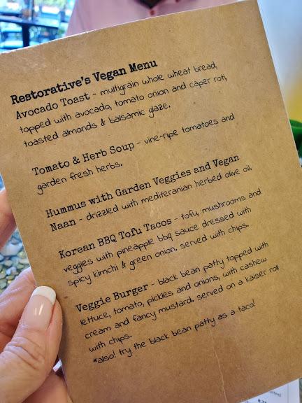 Restoratives Cafe Vegan Menu