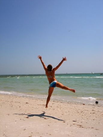 Jumping For Joy At Barefoot Beach
