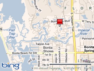 Map to and of Bonita Bay Club