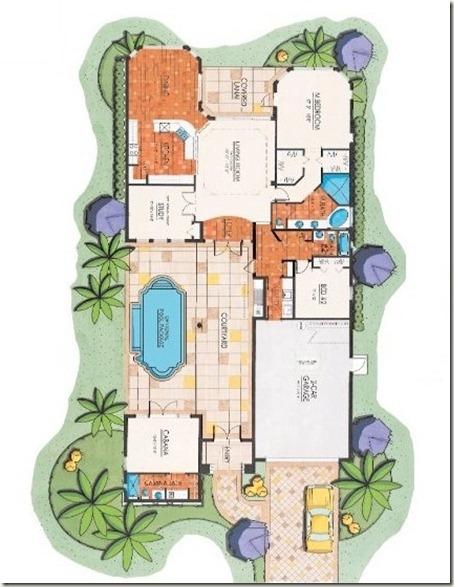 Courtyard floor plan bonita springs for Old world house plans courtyard
