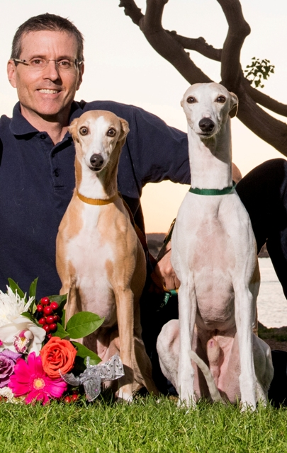Mark Mills with his two Whippets Spot and Dawa