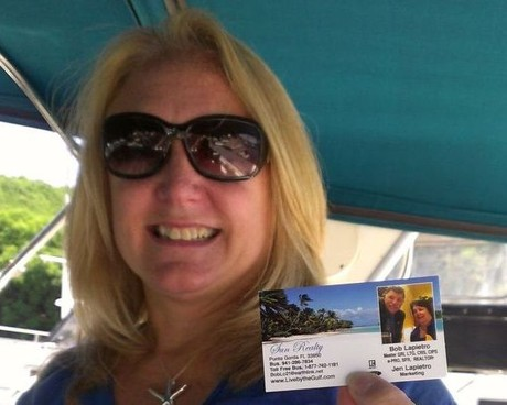 Customer with Bob & Jen's business card