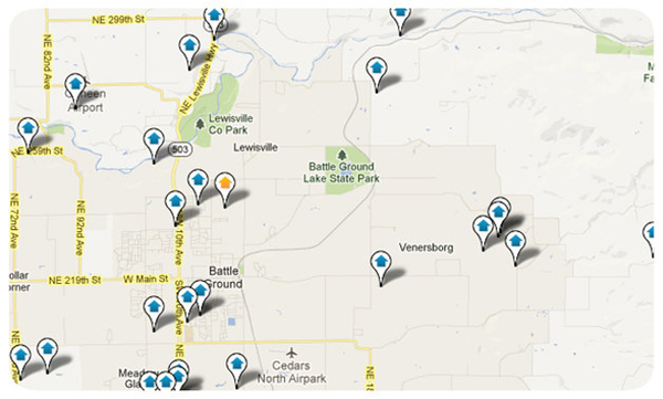 Battle Ground WA Homes Search Map Results
