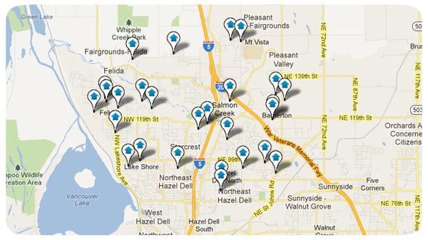 Felida WA Homes Search Map Results