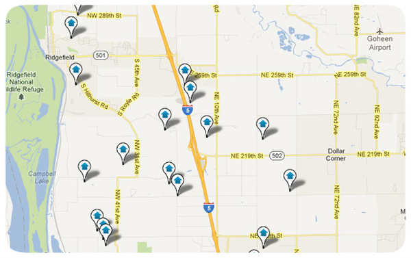 Ridgefield Area Homes Search Map Results