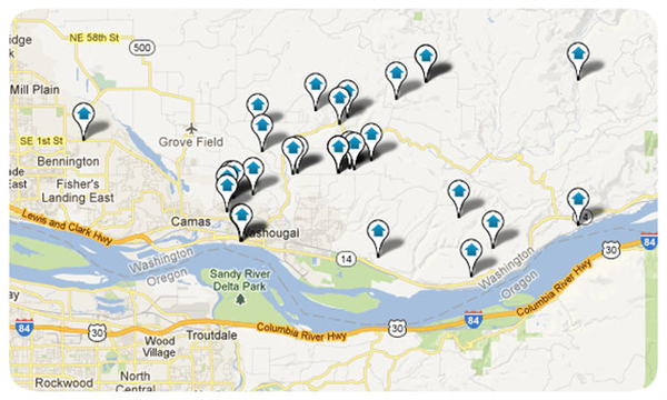 Columbia River Views Home Search Map Results