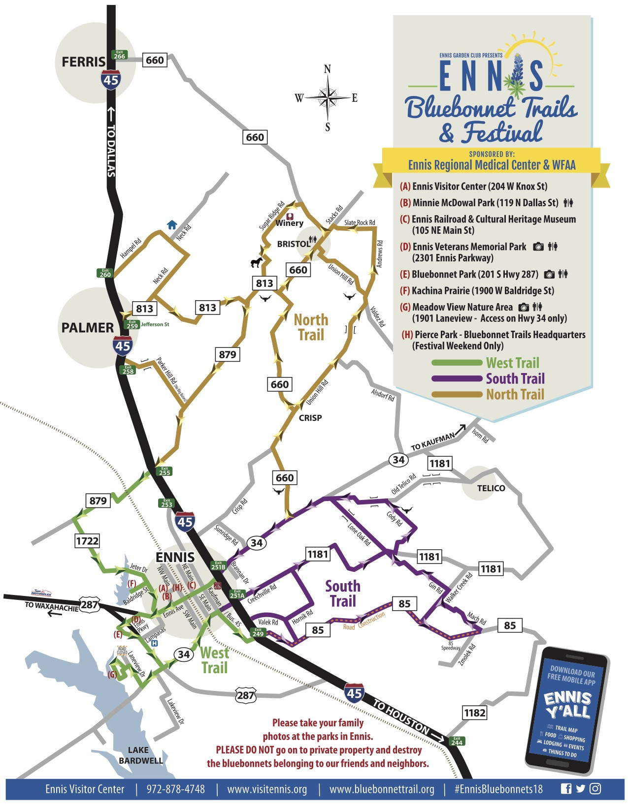 Driving map of the Ennis bluebonnet trails