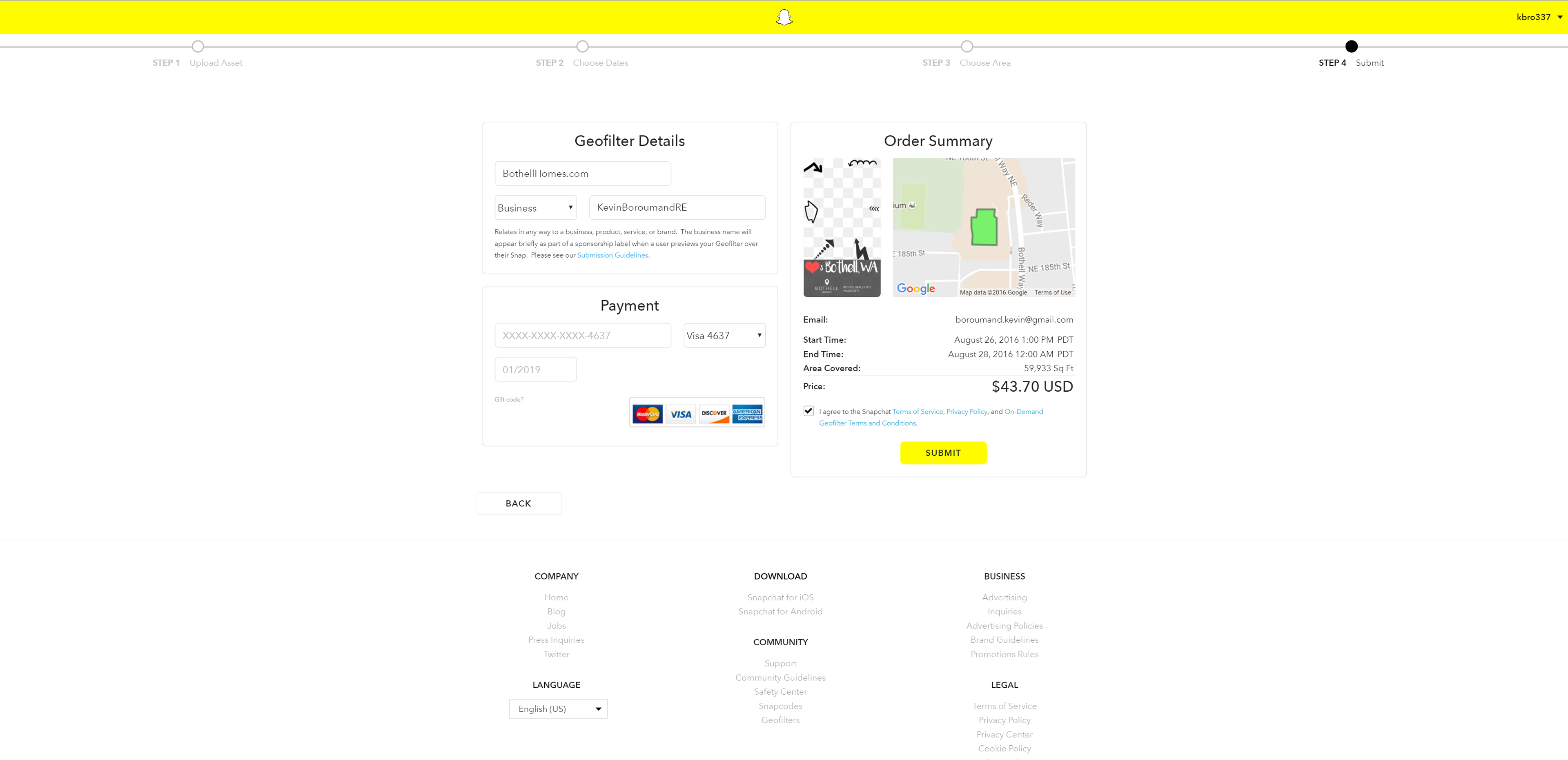 Snapchat on demand geofilters guide for real estate bothellhomes on this page you will need to choose a geofilter name and a business name you cannot enter your website no symbols just words snapchat may place a biocorpaavc Gallery