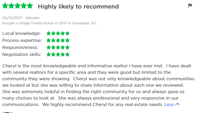 Cheryl Benjamin Loving Phoenix Team Real Estate Review