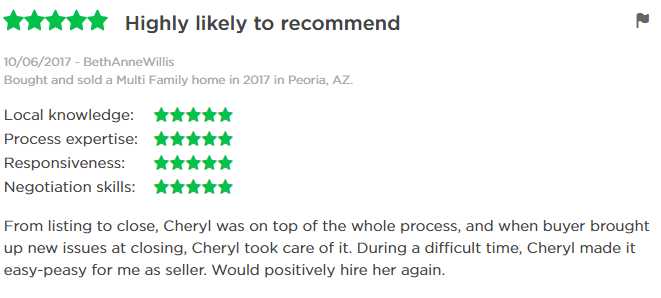 Zillow Review of Cheryl Benjamin