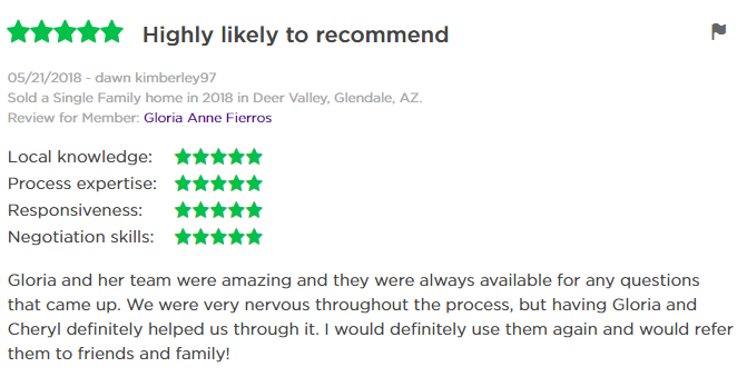 Gloria Fierros Zillow Review